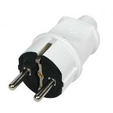 Вилка электрическая Makel 10002 с заземлением белая