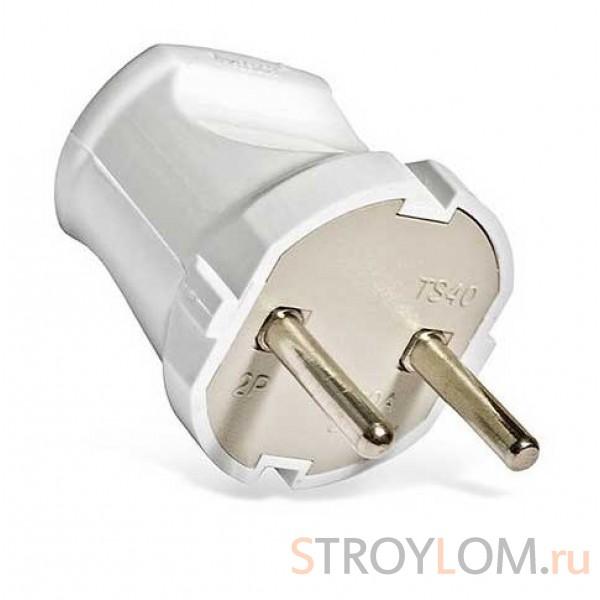 Вилка электрическая UNIVersal 6А без заземления белая
