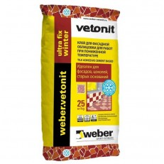 Клей для фасадной облицовки Weber.Vetonit Ultra Fix Winter 25 кг