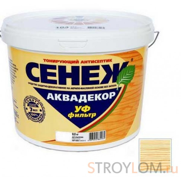 Антисептик тонирующий Сенеж Аквадекор 102 бесцветный 9 кг