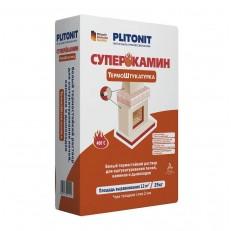 Раствор для отделки печей и каминов Plitonit Суперкамин Термоштукатурка белый 25 кг