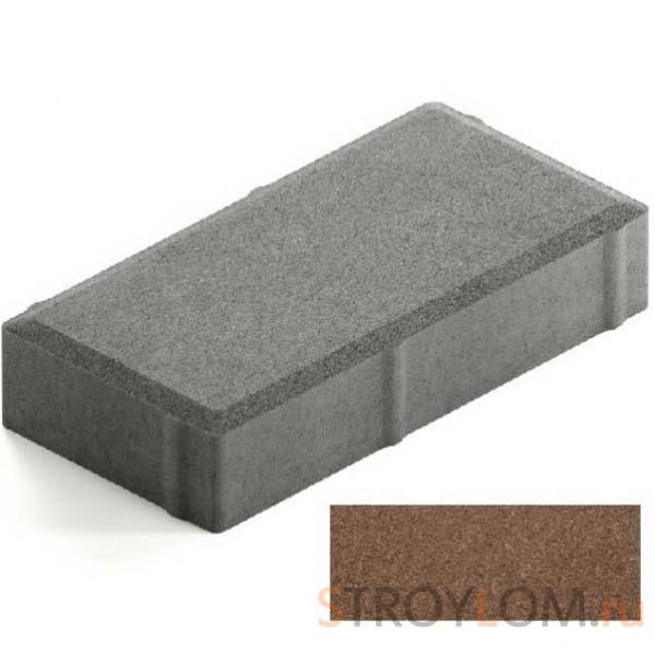 Брусчатка Steingot Лайт 40 из серого цемента с полным прокрасом прямоугольник коричневая 200х100х40 мм
