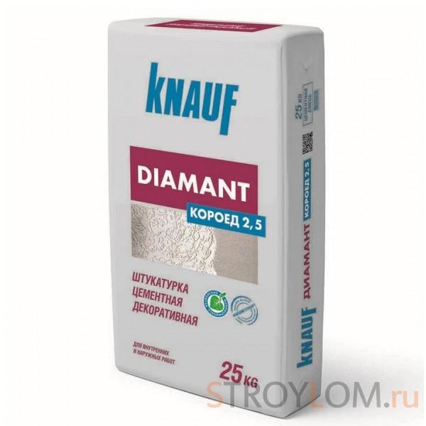Knauf Диамант Короед 2,5 мм белая 25 кг Штукатурка цементная декоративная